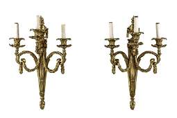Pair of French Gilt Bronze 3 Light Sconces