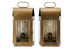 Pair of Davey  Co Brass Marine Lanterns