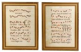 Pair of Medieval Antiphonal Sheets on Vellum
