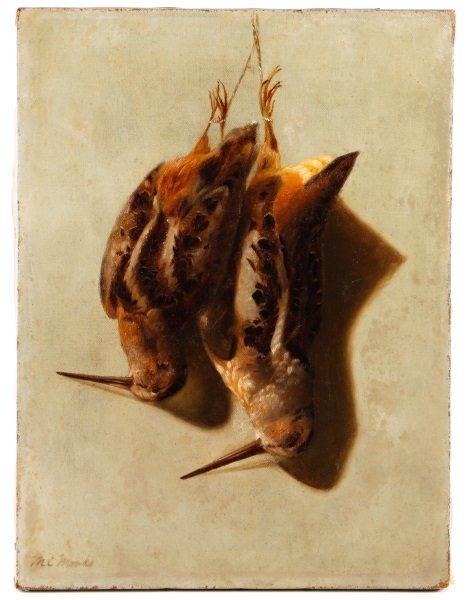 Mary E. Monks, Trompe l'oeil O/C, Unframed