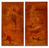 Two Fine Italian Marquetry Inlaid Wood Panels