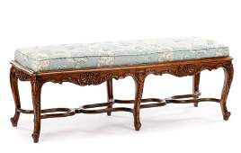 A Fine Louis XV Style Walnut Carved Banquette
