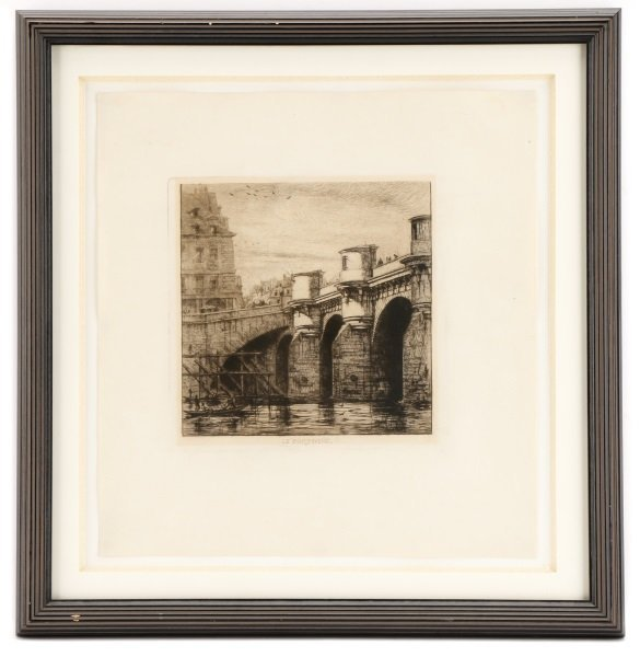 """Charles Meryon 19th Century Etching, """"Pont-Neuf"""""""