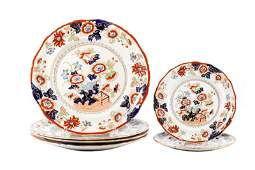 """Collection of 6 Ironstone Plates, """"Bible Pattern"""""""