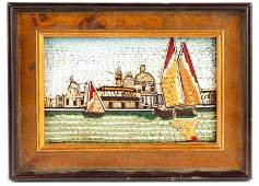 Italian Micromosaic Venetian Canal Scene, 20th C.