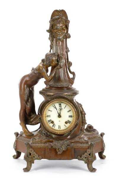 Ansonia Art Nouveau Figural Spelter Clock