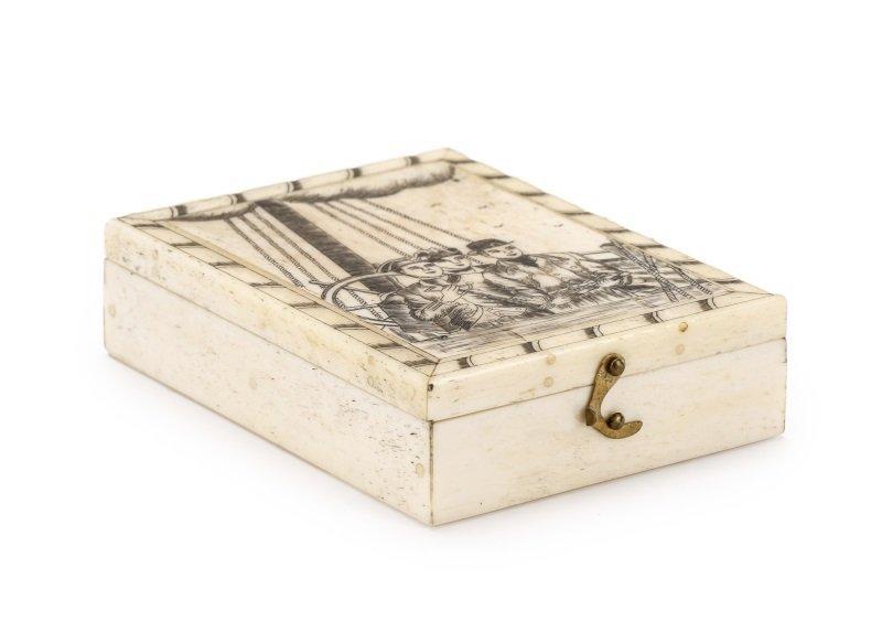 Bone Compass Box with Scrimshaw Decoration