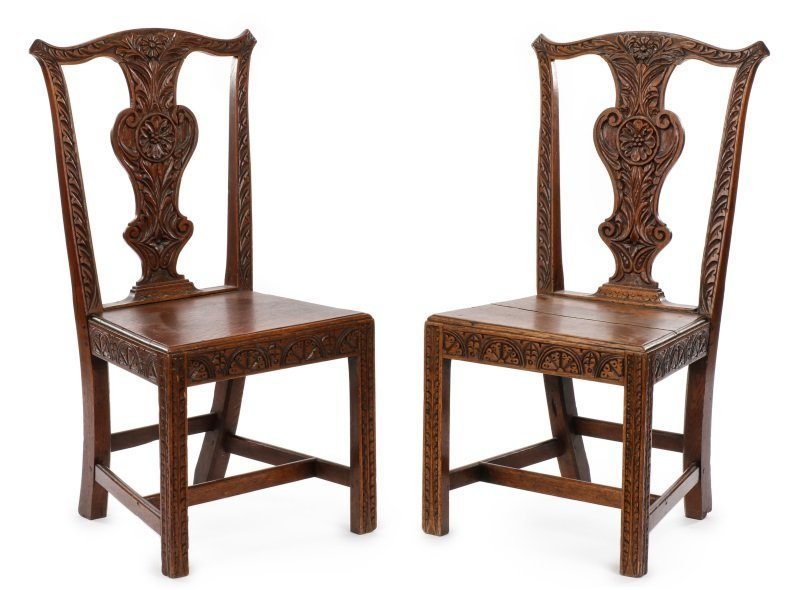 Pair of Carved & Stained Oak Side Chairs
