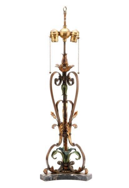 E. 20th C. Polychromed Bronze Foliate Table Lamp