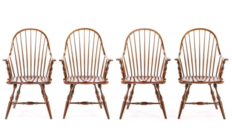 Set of 4 Stickley Hoop Back Windsor Armchairs