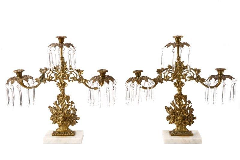 Pair of Gilt Bronze Candelabras w/ Lustres, 20th C