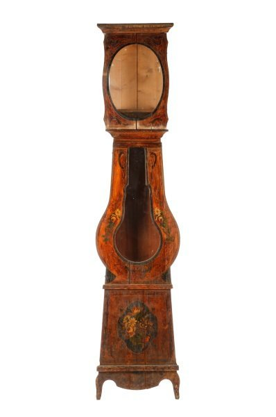 French Floral Painted Grandfather Clock Case
