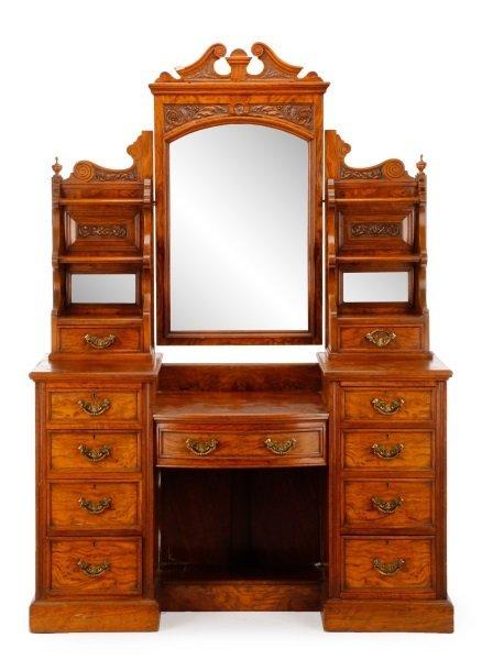 English Walnut Mirrored Dressing Table