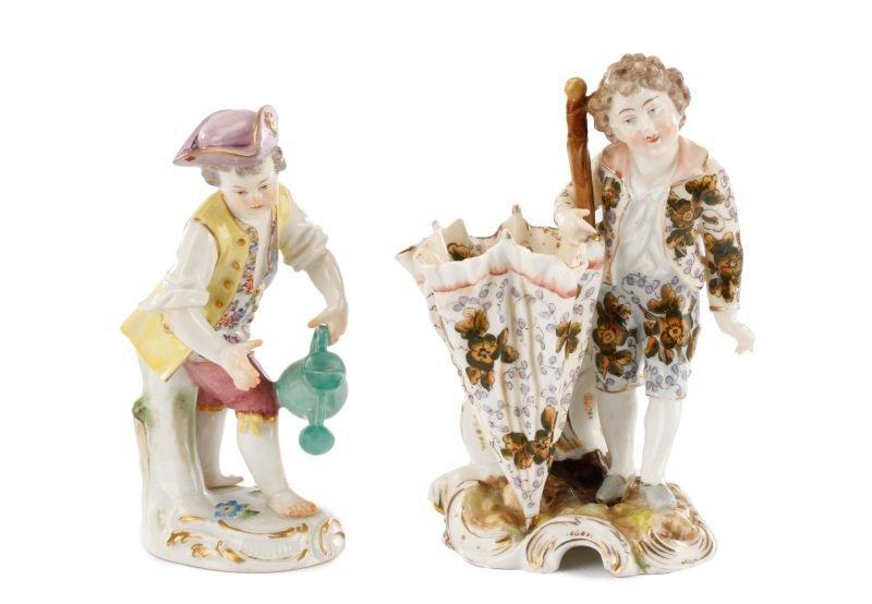 Meissen Porcelain Figurine & Figural Spill Vase