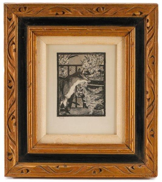 """After Manet, """"Les Chat et Les Fleurs"""", Etching"""