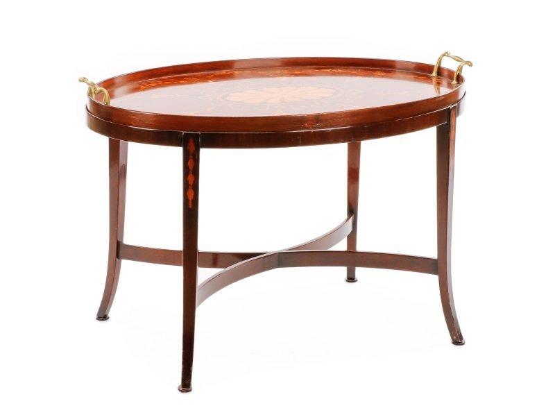 Edwardian Style Mahogany & Marquetry Tray Table