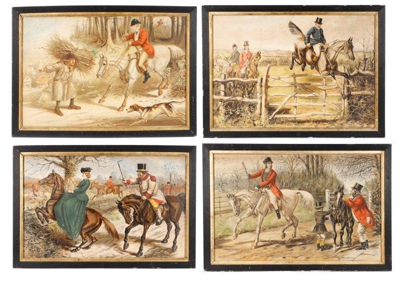 4 Framed John Leech Hand Embellished Lithographs