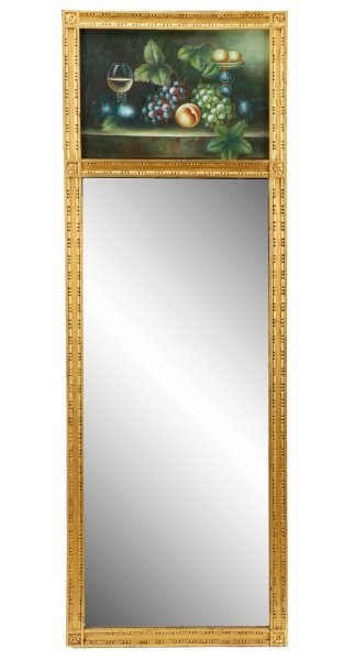 French Style Trumeau Mirror w/Still-Life, Signed
