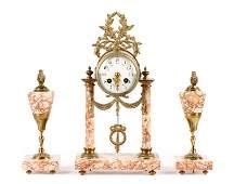 3 Piece French Pink Marble Clock Garniture Set