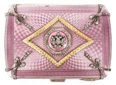 Faberge Style Guilloche  Diamond Cigarette Case