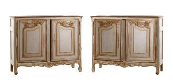 Pair of French Gray Painted Oak Buffets DAppui