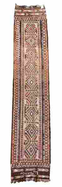 Long Hand Woven Kilim Rug, Signed