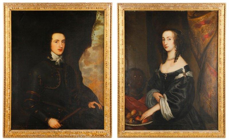Pair, 17th C. John Hayls Portraits of British Nobility