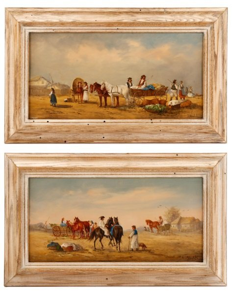 2 Jan Wolski, Hungarian Traders Scenes, Oil Board