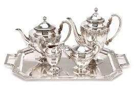 5 Piece German Handarbeit Sterling Tea Set