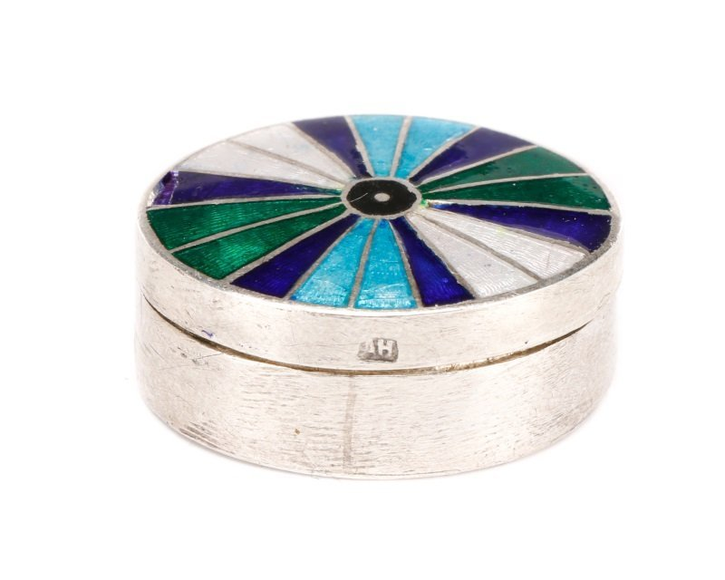 Faberge Style Silver, Guilloche Enamel Pill Box