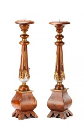 Pair Of Italian Carved Wood Candle Prickets
