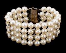 Cultured Pearl Ruby Diamond  Sterling Bracelet