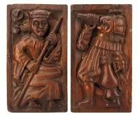 Pair, 18th C. Flemish Carved Oak Figural Reliefs