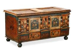 Polychrome Decorated Pine Chest, Late 18th C.