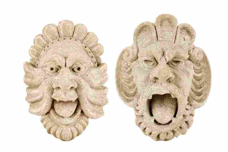 Two Cast Stone Bacchic Mask Wall Fountains