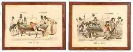 Group of 2 Currier & Ives Darktown Series Prints