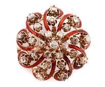 Early Victorian Rose Cut Diamond & Enamel Brooch
