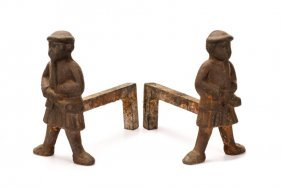 Pair Of 18th C. Webb Andirons, Scotsmen In Kilts