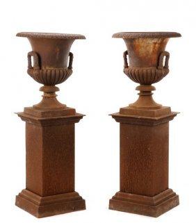 Pair Of Large Cast Iron Garden Urns On Pedestals
