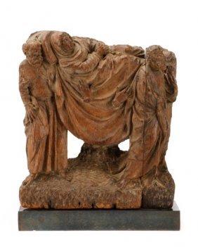 Carved Oak Dormition Of The Virgin, Circa 1500