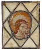 15th C Flemish Stained Glass Panel Saint Cecilia