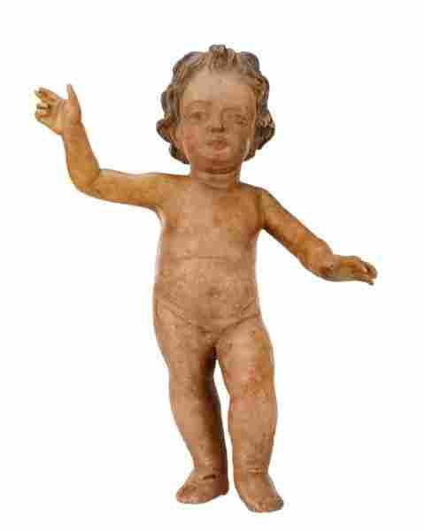 18th C. Carved & Polychrome Wood Santo, Baby Jesus