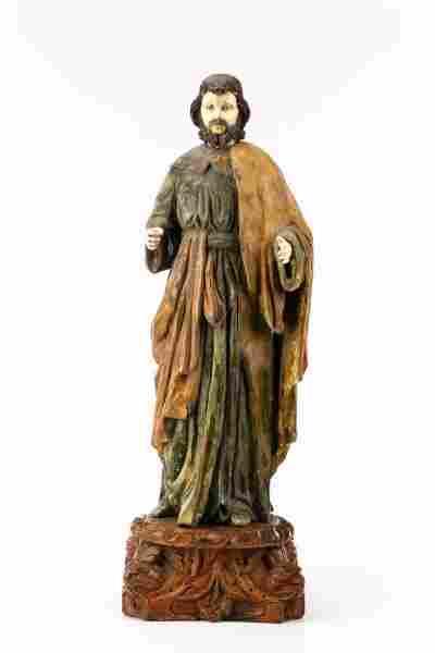 19th C. Spanish Carved Wood & Bone Santo Figure