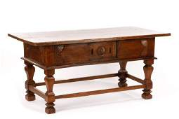 18th C Italian Baroque Carved Oak Refectory Table