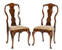 Pair of Queen Anne Style Burl Walnut Side Chairs