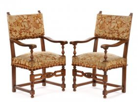 Pair Of Italian Renaissance Style Walnut Armchairs