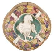 Majolica Ceramic Plaque After Della Robbia