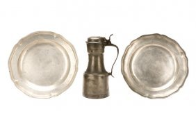 Group Of 18th C. Pewter: 2 Chargers, 1 Tappit-hen