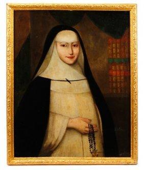 19th C. Continental Oil, Formal Portrait Of Nun