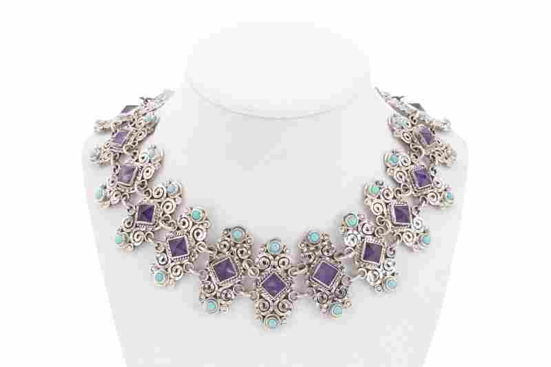 Mexican Sterling, Amethyst & Turquoise Necklace